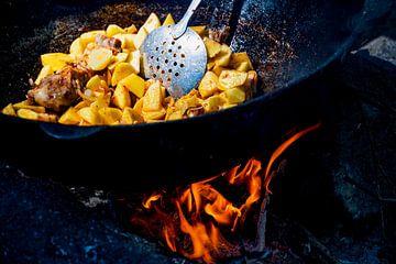 Cuisiner sur un feu de camp sur Laimute Kuriene