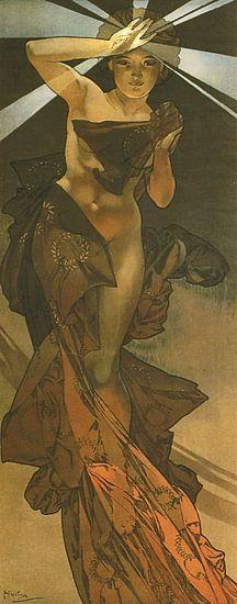De Maan en de Sterren: De Morgenster - Art Nouveau Schilderij Mucha Jugendstil van Alphonse Mucha