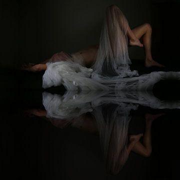 Naakte man met spiegeling en net. Titel: reflectie van de ziel van Cor Heijnen