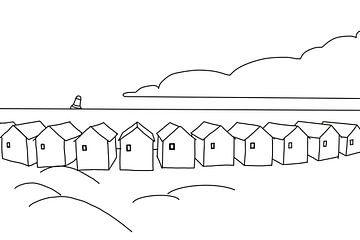 Strandhuisjes zwart wit van MishMash van Heukelom