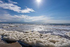Prachtige kustlijn met twee wandelende surfers op de achtergrond van Dafne Vos