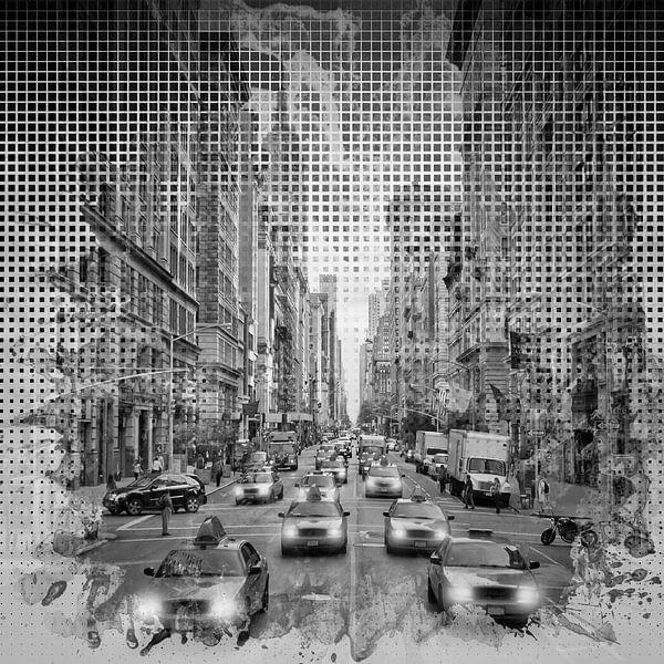 Grafische Kunst in NEW YORK CITY verkeer | zwart-wit van Melanie Viola
