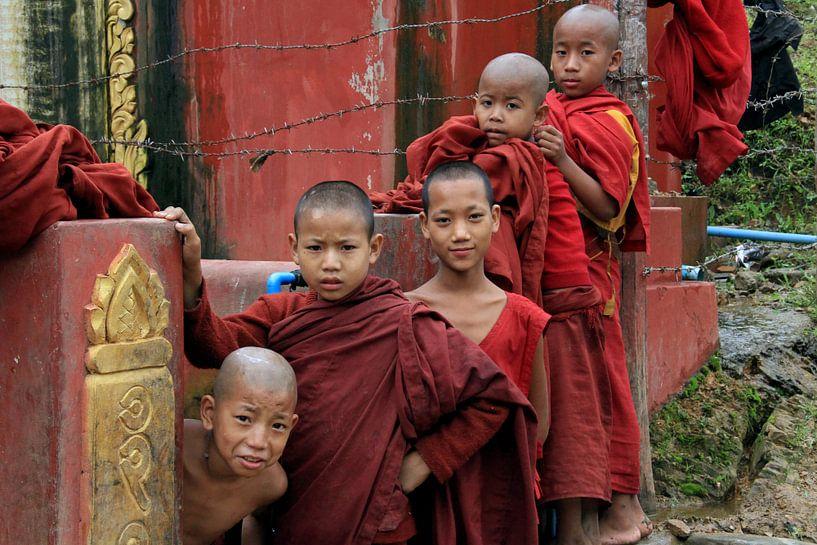 Jonge boeddhistische monniken in Myanmar van Gert-Jan Siesling