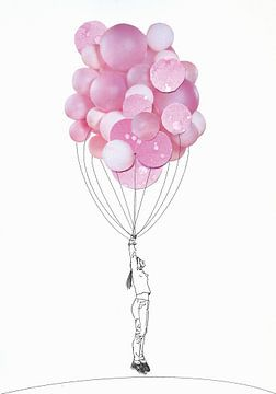 Collagekunst-Postermädchen mit Ballon von Angela Peters