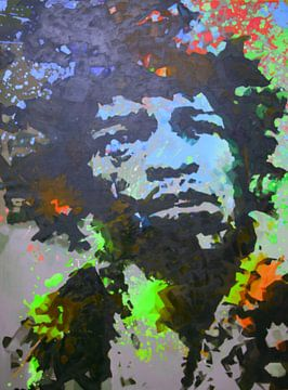 Jimi Hendrix - Splash - Blue - Green - 3 Colours van Felix von Altersheim
