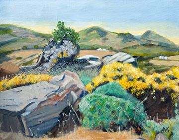 Landschap op Naxos Gr. van Antonie van Gelder Beeldend kunstenaar