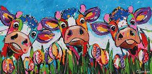 Zwischen den Tulpen von Vrolijk Schilderij