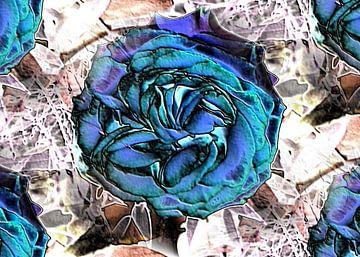 Blauwe roos artistiek van Ina Hölzel