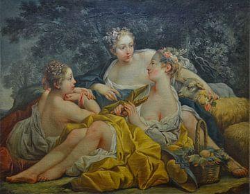 Oben-ohne-Nymphen, die Flöte spielen, François Boucher von Atelier Liesjes
