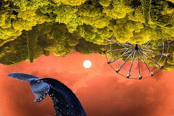 Grande roue dans la forêt avec baleine sur Wendy Boon