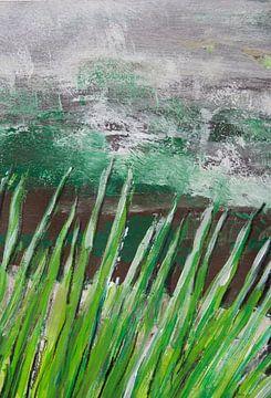 Grasgrün abstrakt 1 van Susanne A. Pasquay