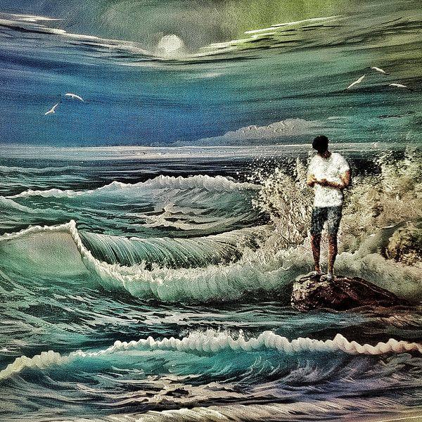Verdronken in zijn smartphone (aan zee) van Ruben van Gogh