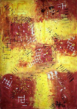Rasterlijnen op geel-bruine vierkanten, I van elha-Art