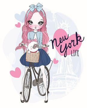 Meisje op de fiets, laat een hip leven van New York zien van Atelier Liesjes