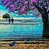 Bäume am Meer (Japanische Kirsche) von Ruben van Gogh Miniaturansicht