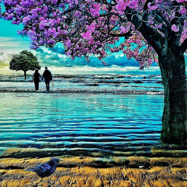 Bäume am Meer (Japanische Kirsche) von Ruben van Gogh