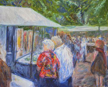 """Kunstmarkt in Bergen """"De kunstkenners"""" van Paul"""