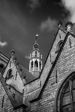 Deel van de Sint Janskerk in Gouda. z/w von Gouda op zijn mooist