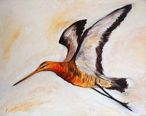 Grutto vliegend - schilderij