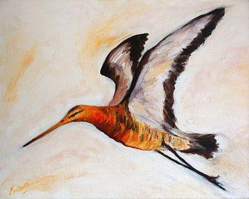 Grutto vliegend - schilderij  van Eveline van Oudbroekhuizen