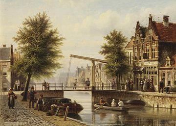 Tägliche Aktivitäten entlang eines niederländischen Kanals