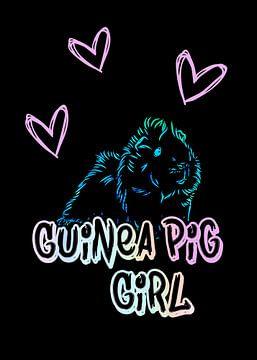 Cavia Meisje Neon op Zwart van KalliDesignShop