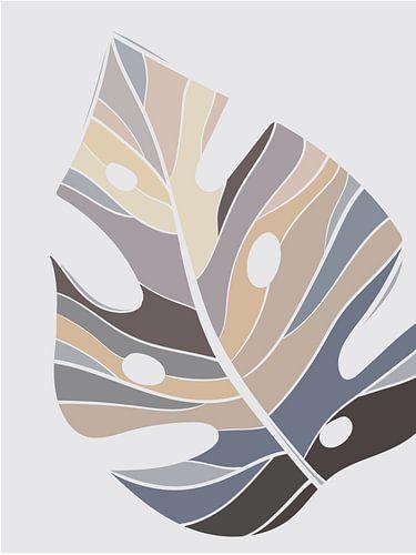 Stilistische blad, Monstera (Gatenplant): zand, bruin en grijstinten