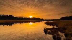 Zonsondergang ven in Drenthe van Yvon van der Laan