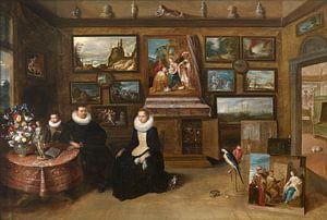 Portret van een familie in een kunstkamer, Frans Francken (II) van