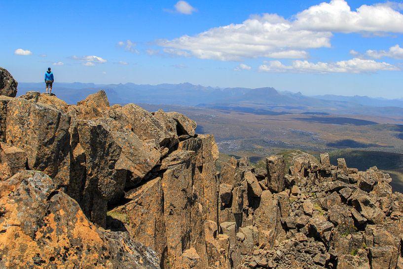 Het uitzicht vanaf de top van Cradle Mountain in Tasmanië van Daphne de Vries