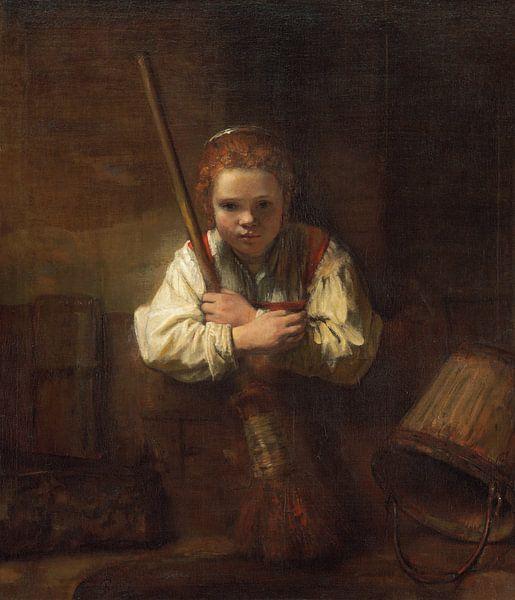 Mädchen mit Besen, Rembrandt und Carel Fabritius von Rembrandt van Rijn