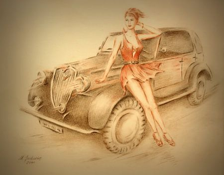 Model und Oldtimer - Vintage car Gemälde