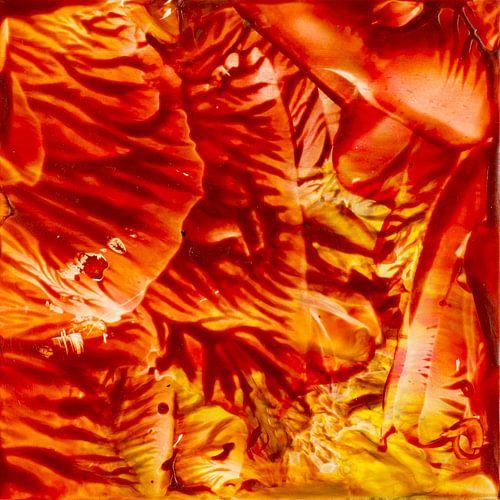 Encaustic Art rood oranje zwart geel