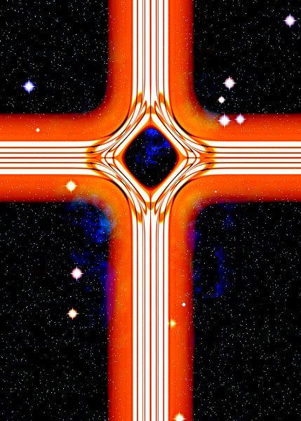Energetisches Kreuz in Orange von Leopold Brix