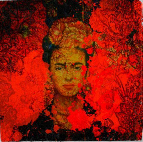 Frida Kahlo Orange Pop Art PUR  van Felix von Altersheim