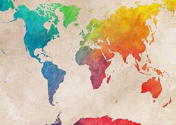 Wereldkaart 3 #kaart #wereldkaart van JBJart Justyna Jaszke