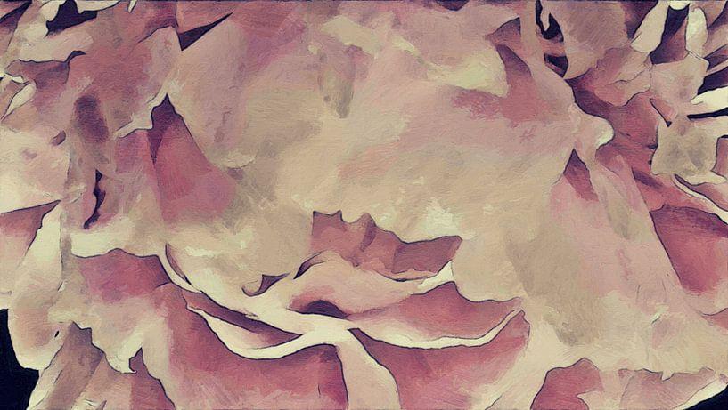 De Bloemblaadjes van een Pioenroos - Schilderij van Schildersatelier van der Ven