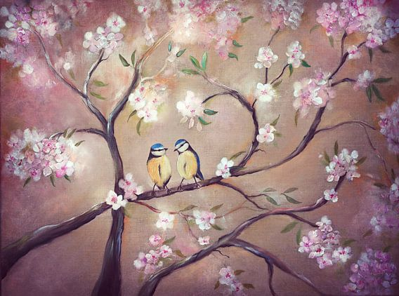"""""""bloesemtakken met pimpelmees""""...spring on its way.."""