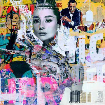 Audrey Hepburn vs. James Bond Plakative Collage Dadaismus von Felix von Altersheim