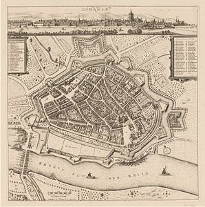 Carte d'Arnhem avec cadre blanc, anno ca 1660