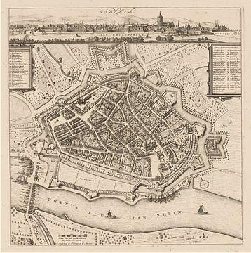 Carte d'Arnhem avec cadre blanc, anno ca 1660 sur Gert Hilbink