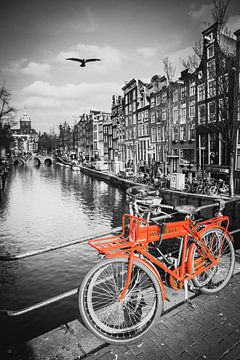 Rode fiets aan de gracht in Amsterdam van Heleen van de Ven