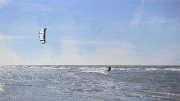 Kitesurfer maakt Snelheid over de Zee bij Ouddorp - Schilderij