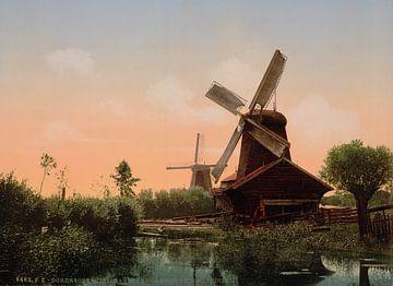 Windmolens op de Noordendijk, Dordrecht van Vintage Afbeeldingen