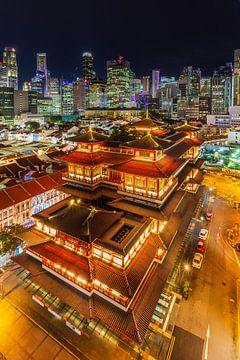 Singapur-Skyline und Buddha-Zahn-Relikt-Tempel - 2 von Tux Photography