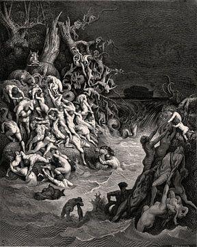 Vloed verwoest de wereld - Gustave Doré, 1866 van Atelier Liesjes