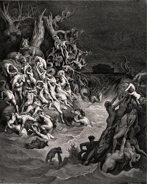 Überschwemmung zerstört die Welt - Gustave Doré, 1866 von Atelier Liesjes
