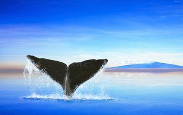 Walvisstaart op de oceaan met een eiland van Jan Brons