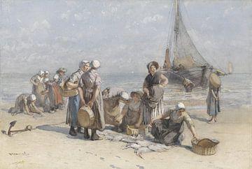 Fischerfrauen am Strand von Scheveningen - Bernardus Johannes Blommers