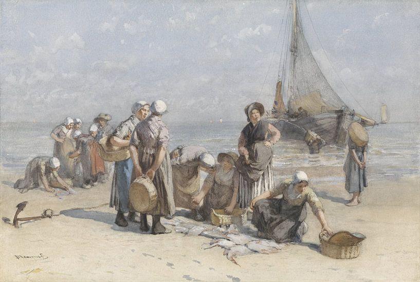 Vissersvrouwen op het Scheveningse strand, Bernardus Johannes Blommers, ca. 1880 - ca. 1885 van Schilders Gilde